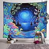 Tapestry Manta Playa Grande Tapiz De Setas Tapiz De Medusas del Mundo Submarino Decoración De Pared para Dormitorio Sala De Estar Toalla De Playa 150X130Cm