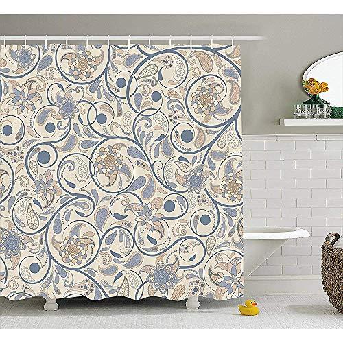 W-wishes Vintage orientalische Schriftrolle mit wirbelnden Blättern mit östlichen Design Inspirationen Stoff Beige Tan Schieferblau Duschvorhang