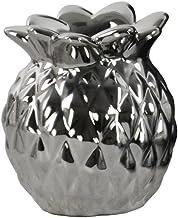 "Urban Trends 4"" Ceramic Pineapple Candleholder SM Polished Chrome Finish Silver"