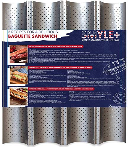 SMYLE Plus Baguette pan for baking bread at home as a professional - Perforated nonstick french bread pan - 13' x 15'' and 4 Wave Loaves - Comes with 3 sandwich recipes.