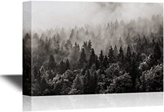 wall26 Canvas Wall Art - Misty Forest in Black and White - Gallery Wrap Modern Home Decor   Ready to Hang - 16x24 inches