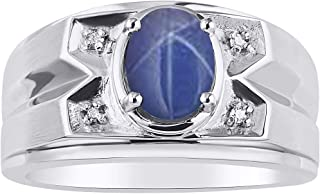 Mens Ring with Oval Shape Gemstone & Genuine Sparkling Diamonds in Sterling Silver .925-8X6MM Color Stone