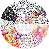 DICOBD 1500pcs Acrylic Letter Beads Kit for Jewelry Making Alphabet Beads in 11 Styles Cube Beads Transparent Glow in The Dark Beads with 2 Rolls of 9 Meters Elastic String Cord