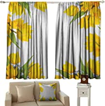 Yellow Flower Shading Insulated Curtain Abstract Frame Yellow Tulip and Blue Forget Me Knot Blooms Bouquets Soundproof Shade W100 x L84 Inch Mustard Fern Green