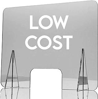 GRUPO ZONA | Mampara de Protección | Material Metacrilato | Transparente | Modelo Belfast | Buena Estabilidad | Automontable | 2 mm de Grosor | Incluye Soportes de 4 mm | 70 x 50 cm