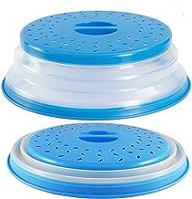 Aranticy - 2 tapas plegables para microondas de fácil agarre, para microondas, con colador, para frutas, verduras y microondas, color azul