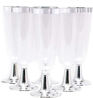 48 Plastic Silver Rimmed Champagne Flutes 5.5 oz.