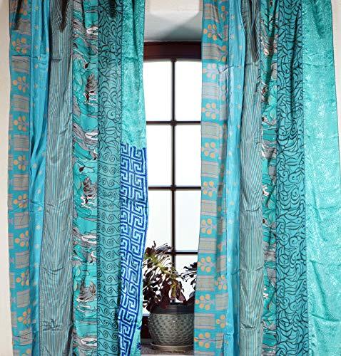 Guru-Shop 1 Paar Vorhänge (2 Stk.) Gardine aus Patchwork Sareestoff, Unikat - Türkis, Synthetisch, 240x100 cm, Dekovorhänge