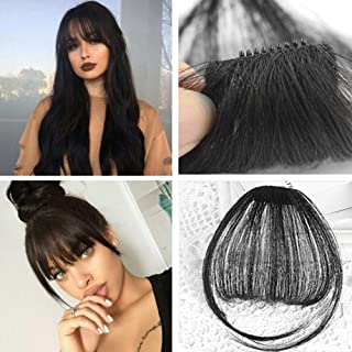 Alanber Hair bangs Clip on Real Hair Extensions 100% Human Hair Black Air Front Fringe with Temple Clip in Hair One Piece Clip in Fringe Hairpiece Accessories