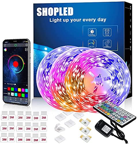 Tira LED 18M, SHOPLED Bluetooth Music Sync SMD 5050 RGB Tiras LED con Control de Aplicación, 44 Teclas de Control Remoto para Dormitorio, Cocina, TV, Fiesta, Decorativas Habitación