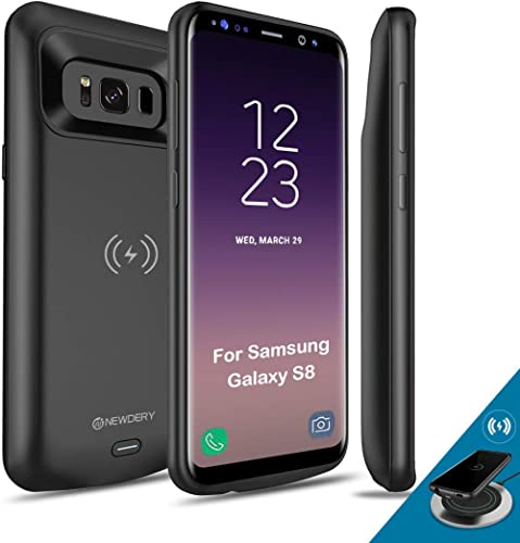 NEWDERY Upgraded Samsung Galaxy S8 Battery Case Qi Wireless Charging Compatible, 5000mAh Slim Rechargeable Extended C...