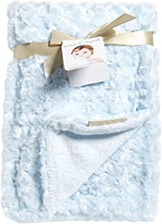 Blankets and Beyond Baby Blue Rosette Blanket 30