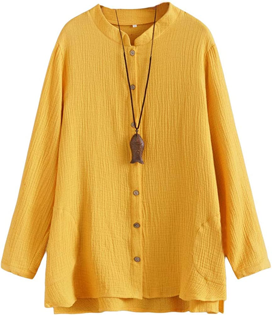 Minibee Women's Cotton Blouse Cardigan Loose Shirt Coat Hi-Low Hem Outfit Button Down Tunic Top with Pockets