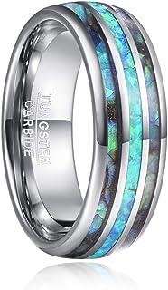 خاتم NUNCAD للرجال من كربيد التنجستين 8 مم / الأخضر / العقيق / البحر شل شل خاتم الخطوبة خاتم الزفاف حجم 5 إلى 15