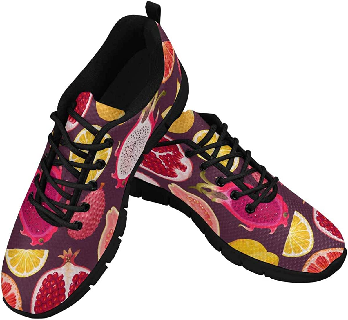 INTERESTPRINT Exotic Fruits Dragon Fruit, Lemon Women's Breathable Comfort Mesh Fashion Sneakers