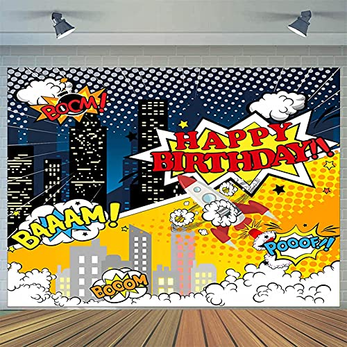 7x5ft Happy Birthday Photography Background Backdrop Banner,Superhero Cityscape Theme Birthday Baby Shower Batman Party Supplies,Children Boy Bedroom Wall Decor,Table Banner Photo Booth Studio Prop