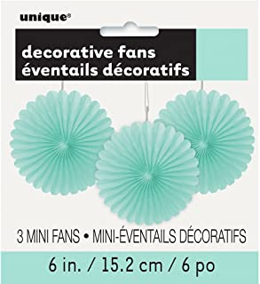 Unique Industries, Mini Tissue Paper Fan Decorations, 6 Inches, Party Supplies - Mint, Pack of 3
