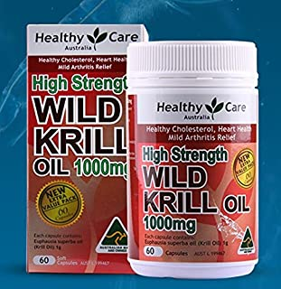 Healthy Care High Strength Wild Krill Oil 1000mg 60 Capsules Australian Made