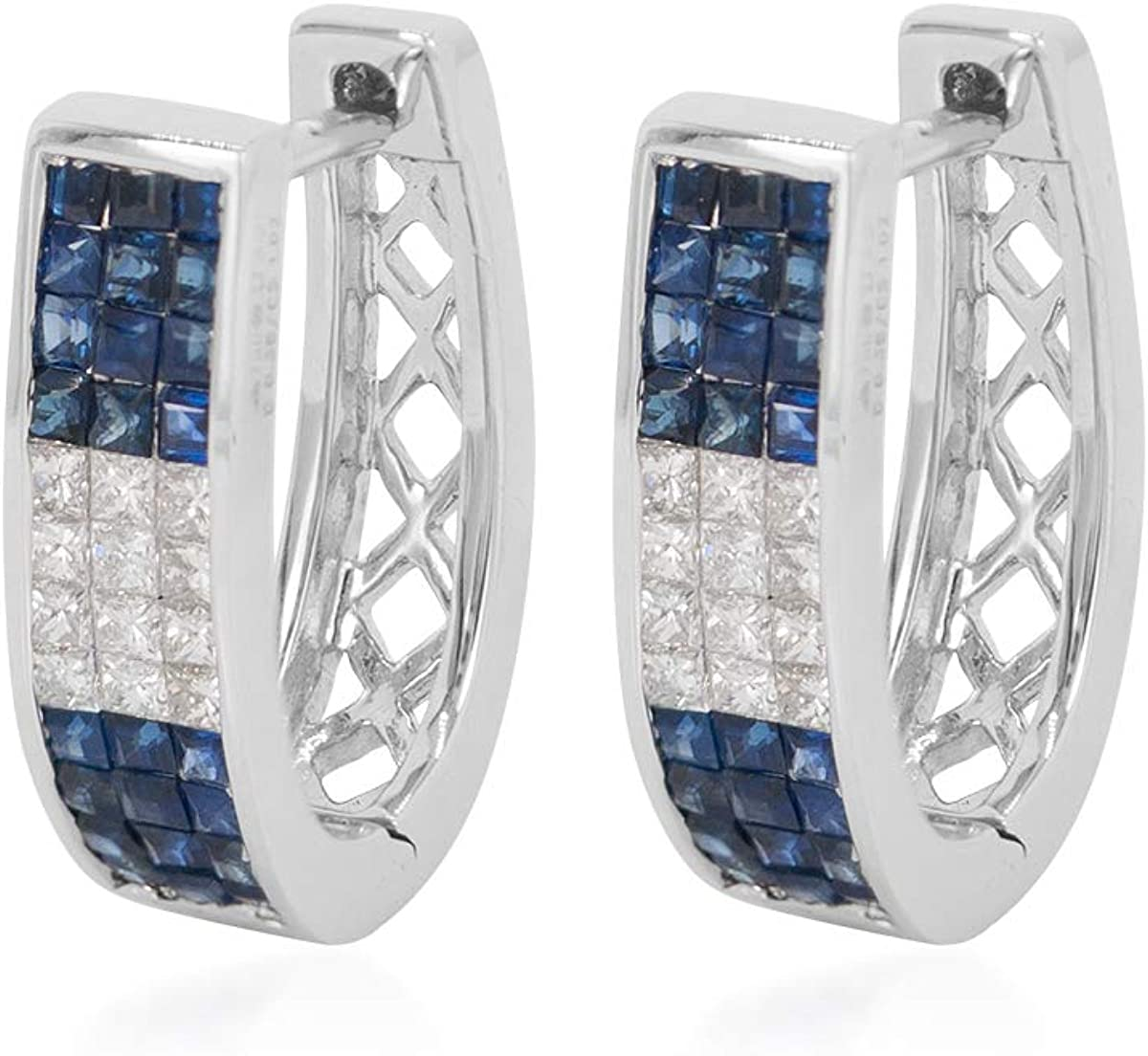 RAKAM Diamond & Blue Sapphire Clip-On Earrings