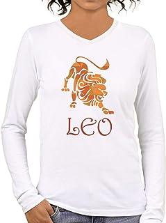 Pooplu Womens Leo Symbol Cotton Printed V Neck Full Sleeves White T Shirt. Astrology, Sun Sign, Zodiac, Horoscope, Symbol Tshirts