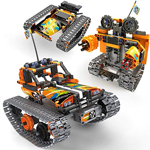 Nuduoki STEM Building Toys 392PCS 3-in-1 Remote Control Building Kits 2.4Ghz Rechargeable Tracked Racer RC Car/Tank/Robot Engineering Learning Toy Gift Set for 8-12 Year Old Boys and Girls (Orange)
