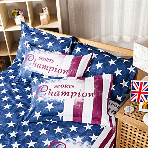 Bedream 4 Pieces Duvet Cover Bedding Set – Sport Fans America Stripe Print Pattern – 100% Cotton Full Queen Size, Blue Red White – Comfortable, Breathable (Full, Football Club)