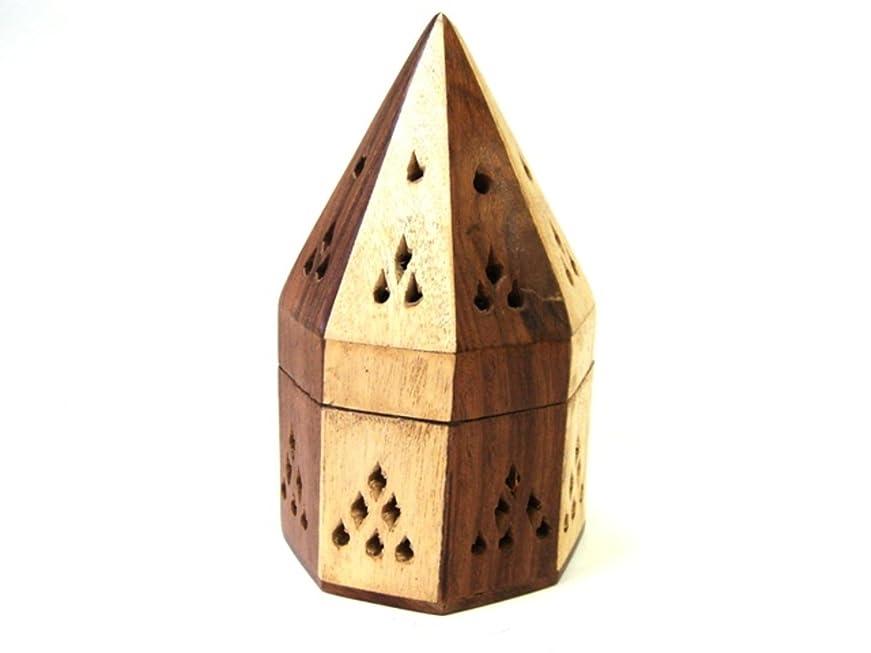 男らしい部分的に組み込むシーシャムウッド 八角型お香立て(寄木)