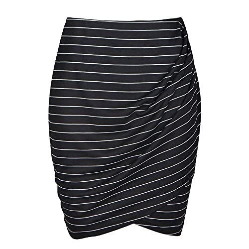 8e17abb5b Womens Slim Cut High Waist Elastic Shirring Midi Pencil Skirt Wide Stripe  Wrap Front Skirt