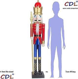 ECOM-CDL - Cascanueces gigante de madera, diseño rey/soldado (121,92  - 152,4 - 182,88 cm)