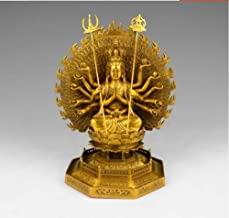 Statue Sculptures Chinese Religious Exquisite Tibetan Buddhism Handwork Copper Thousand-Hand Bodhisattva Statue