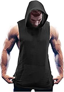 COOFANDY Men's Workout Vest Hooded Gym Bodybuilding Fitness Tank Top Training Muscle Cut Activewear Sleeveless Tops with P...