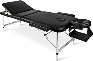 Merax Aluminium Frame Massage Table 84 3 Section Portable Salon Spa Table (Black)