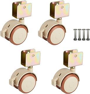 XHNXHN Lot de 4 roulettes pivotantes en caoutchouc pour berceau, roues de 5,1 cm avec frein, accessoires pour berceau de b...