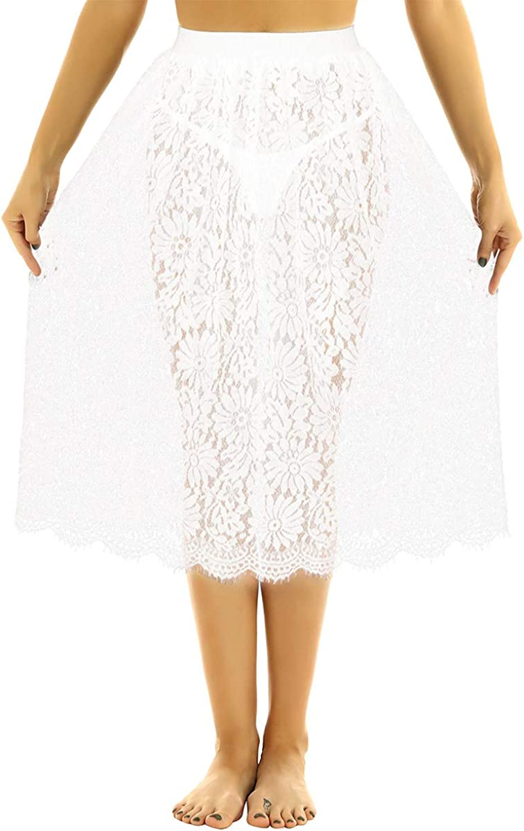 Shinsto Women's Fashion High Elastic Waist A-Line Floral Lace See Through Long Skirts