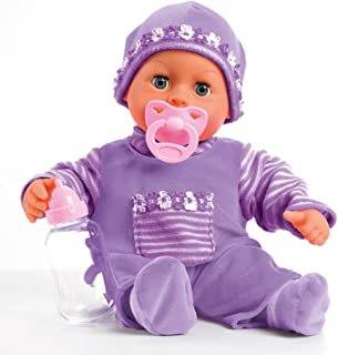 Bayer Design 93800-Lila Function Doll, First Words, Interactive Baby, 24 Sounds, Multi Colour, 38 cm