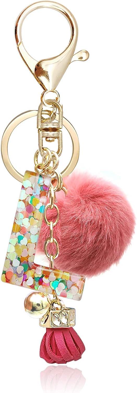 OKAICEN Deep Pink Resin Alphabet Initial Letter Keychain Keyring for Women Purse Handbags With Fur Ball Pom