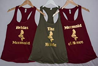 6 KINDS Of MERMAIDS! Bachelorette party Mermaid tank tops Mermaid of Honor, Brides Mermaid, Mermaid Bride, custom wording Ships from the USA Tanks V necks and Crew necks!
