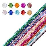 AHANDMAKER 1300 Uds Cuentas de Cristal Facetado de 4 mm con Orificio de 1 mm para Pulsera, Collar, Fabricación de Joyas, Proyecto de Artesanía DIY, 14 Colores
