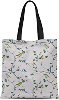 S4Sassy White Leaves & Flycather Bird Printed Re-Usable Tote Bag Women Shoulder Handbag Travel Shopping Bag 16x12 Inches