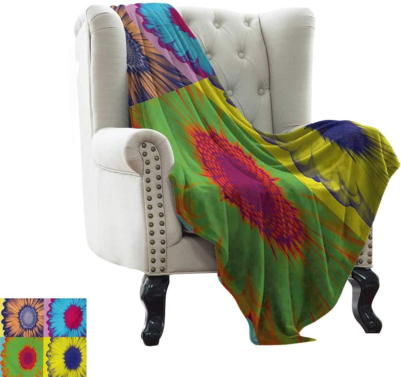 BelleAckerman Weighted Blanket for Kids Modern Art,Pop Art Inspired colorful Kitschy Daisy Flower with Hard-Edged Western Design,Multicolor Velvet Plush Throw Blanket 50 x60