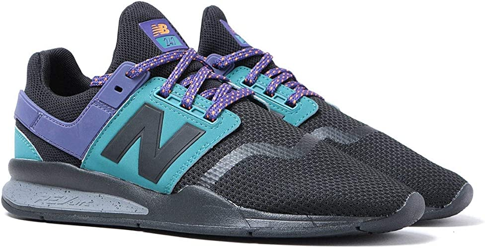 New Balance 247 Black Mesh with Blue and Purple Trainers for Men ...