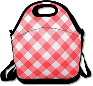 Reusable Soft Lunch Tote Retro Bistro Gingham Red Abstract Check Checkered Clean Country Detail Design Flat Insulated Lunch Bag for Women Men and Kids