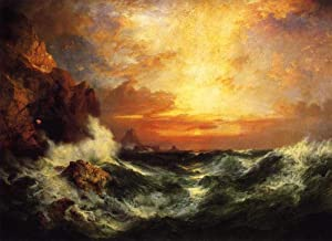 23 Famous Moran Paintings - AED200-4000 Hand Painted by Academic Artists - Sunset near Lands End Cornwall England seascape...