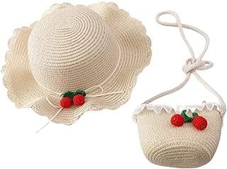 Toyvian Girls Straw Hat and Purse Sets Brim Cherry Beach Sun Hats Mini Cross-Body Bag Dress Up Play Set Kids Party Birthday Travel Gift