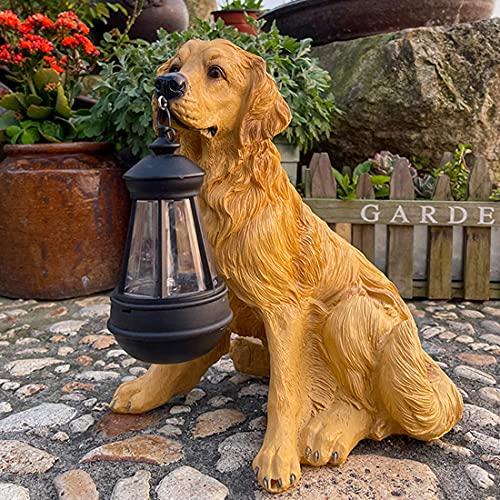 庭の犬の装飾的な彫像とソーラーLED防風ランプ屋外の樹脂工芸品の装飾庭の裏庭のバルコニーパティオパスラブラドール-屋外の彫像