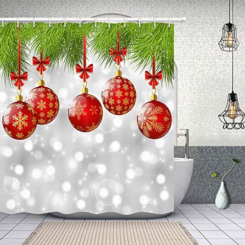 NYMB Duschvorhänge, Schneeflocken-Design, rote Weihnachtsbälle mit Schleife in grünem Kiefernbaum, Badevorhang, Polyester-Stoff, Winter-Festival Duschvorhang, Urlaubs-Badezimmerzubehör, 177,8 cm