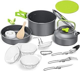 Cooking Bowl SetOutdoor Camping Hiking Cookware Backpacking Cooking Picnic Bowl Pot Set Stainless Steel Cook Set