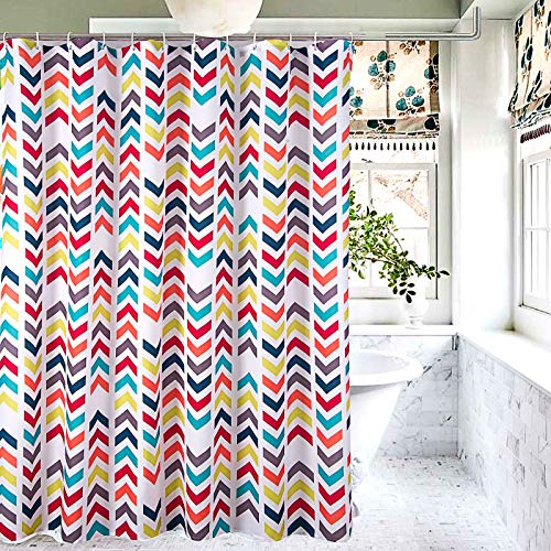Kids Shower Curtain for Bathroom Multi Rainbow Chevron Shower Curtain with Hooks 70 Wide x 72 Long inches