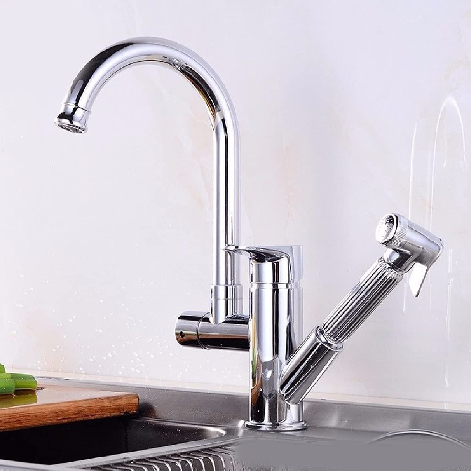 Commercial Single Lever Pull Down Kitchen Sink Faucet Brass Constructed Polished Full Copper redatable Kitchen Multi-Function Sink Sink Hot and Cold Faucet