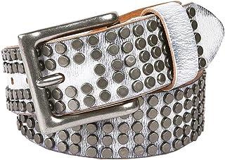 Belt men leather Five rows rivet pin buckle belt for Unisex adjustable belt in black,white and brown 105CM 38mm wide